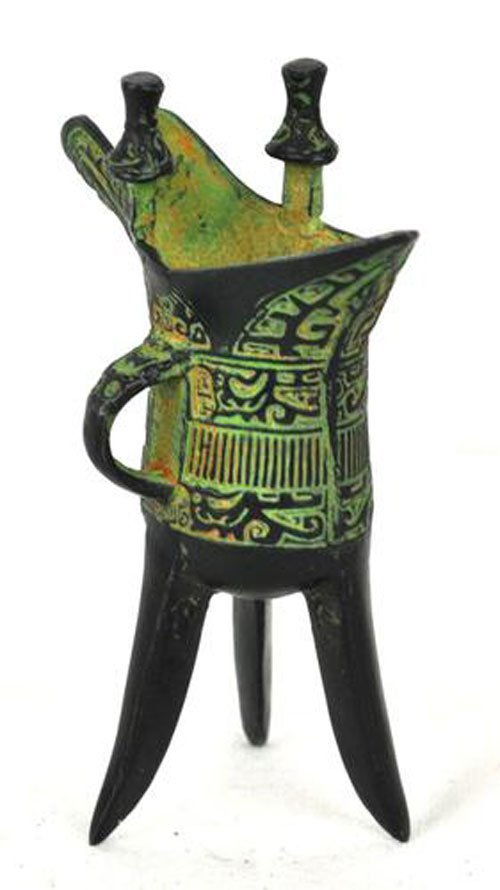 Green patina decorative bronze vase