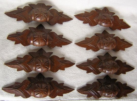 c1880 Victorian Hand Carved Wood Handles, Drawer Pulls