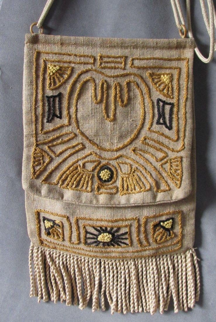 c1920s Arts & Crafts Embroidery Linen Handbag, Purse