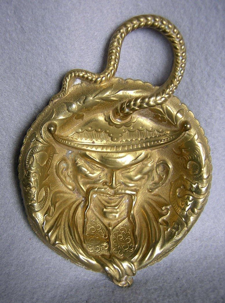 Antique Victorian Asian Man Brass Card, Vanity Tray