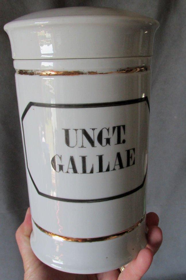 19thC Porcelain Apothecary Drug Store Jar UNGT.GALLEA