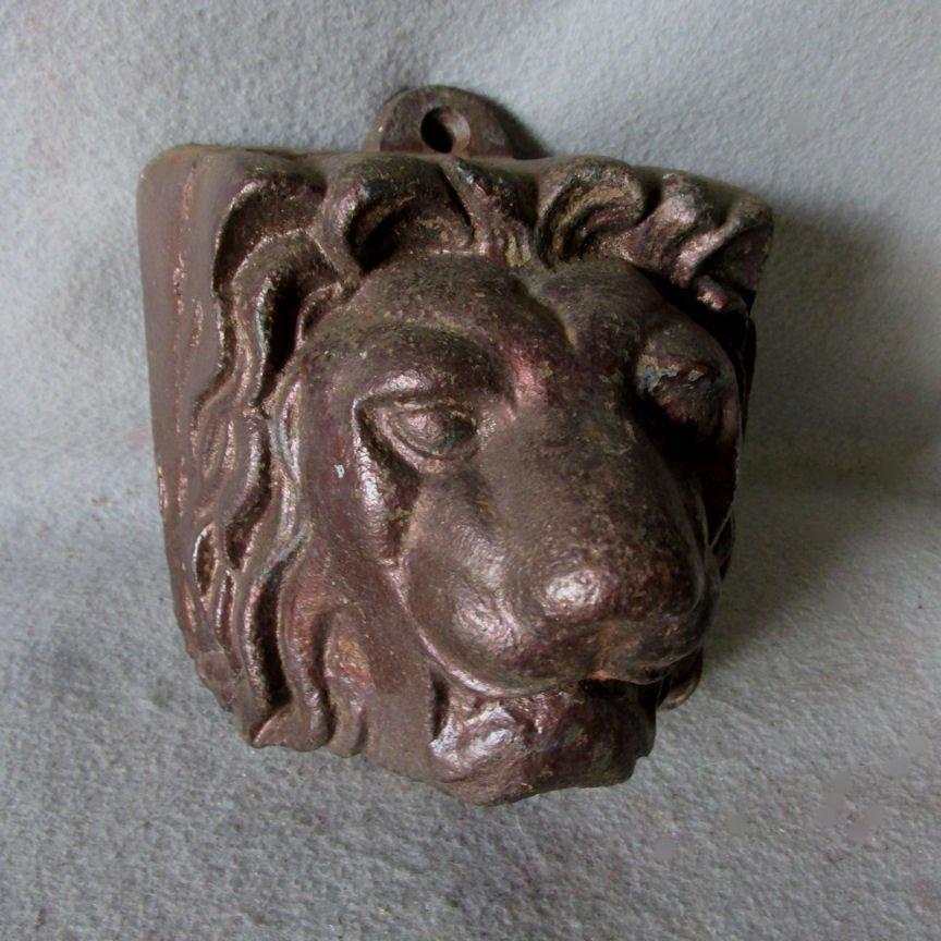 Antique Cast Iron Garden, Architectural Lion Head