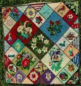 19thC Pictorial Vignette Sampler Wool  Silk