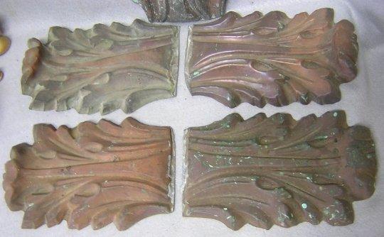 19thC Architectural Copper Acanthus Leaf Ornaments