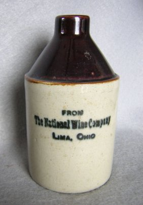 Antique Miniature Stoneware Advertising Jug, Lima, Ohio