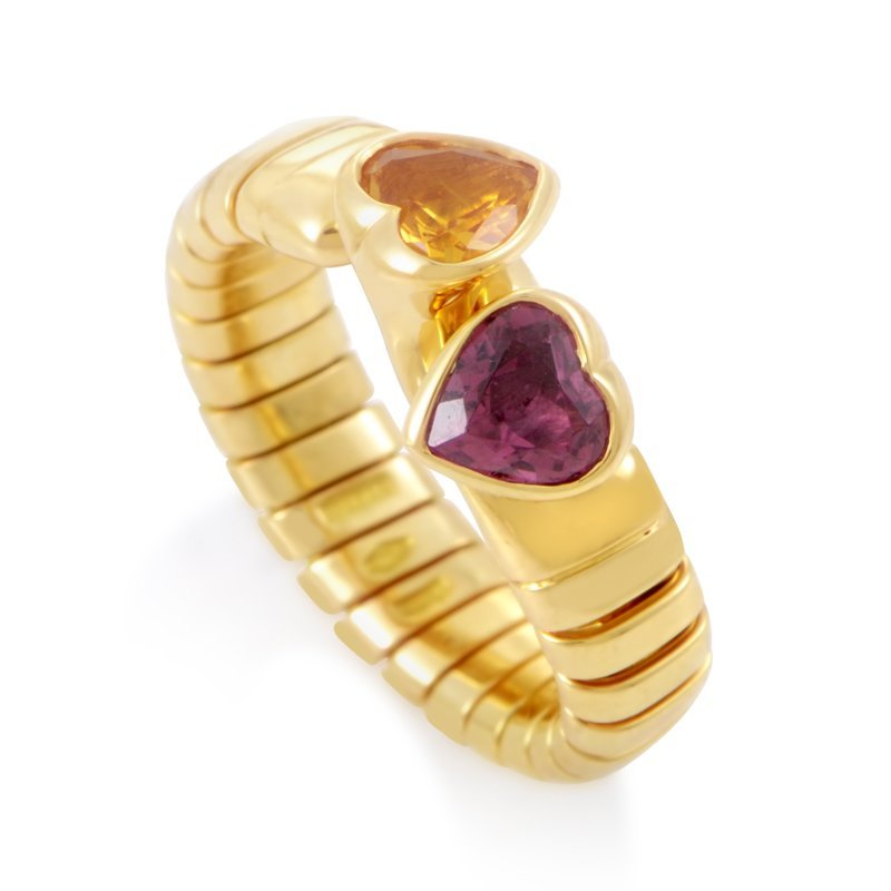 Bvlgari 18K Yellow Gold Citrine & Tourmaline Hearts