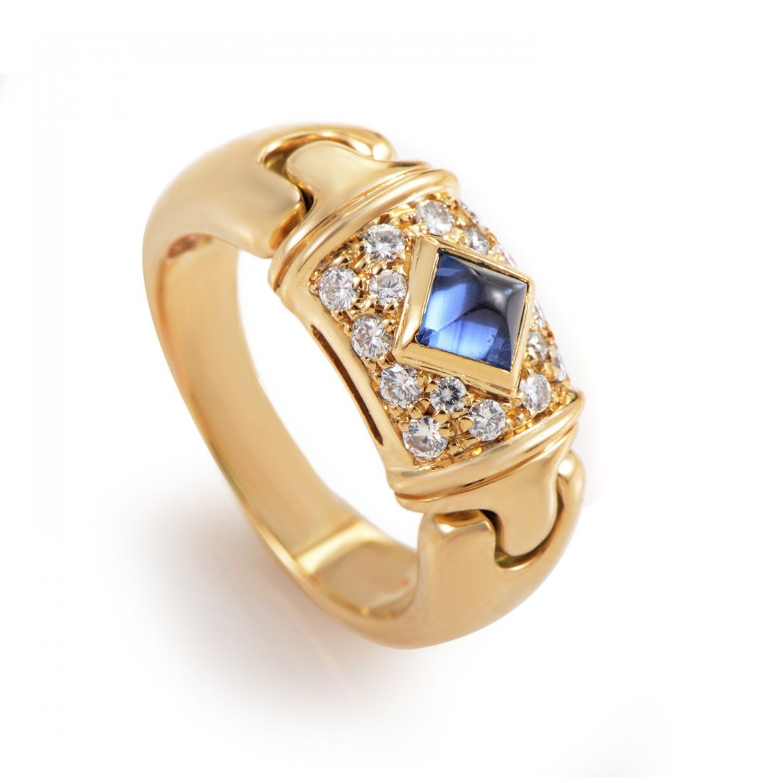 Bvlgari 18K Yellow Gold Diamond Sapphire Ring