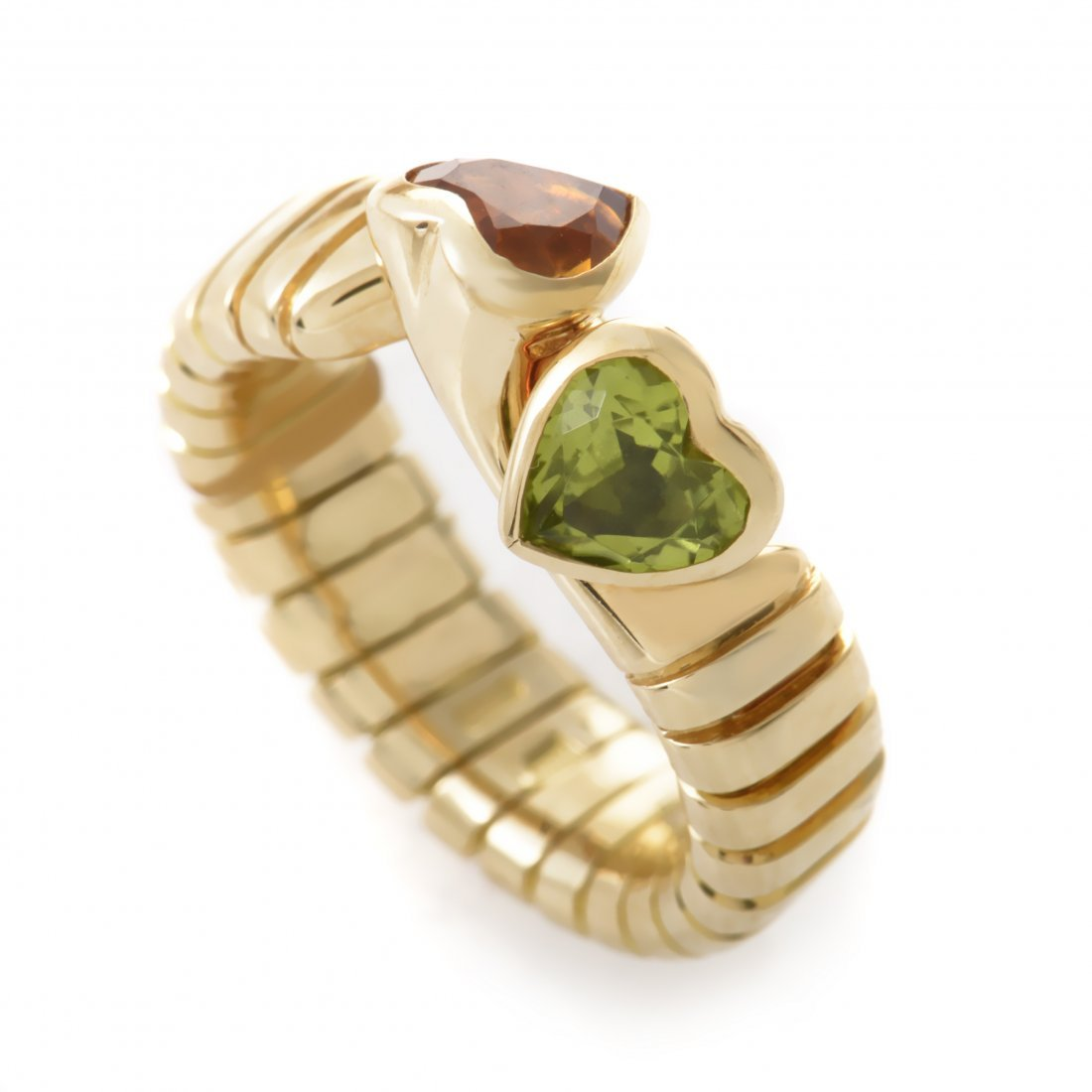 Bvlgari 18K Yellow Gold Double Heart Citrine & Peridot