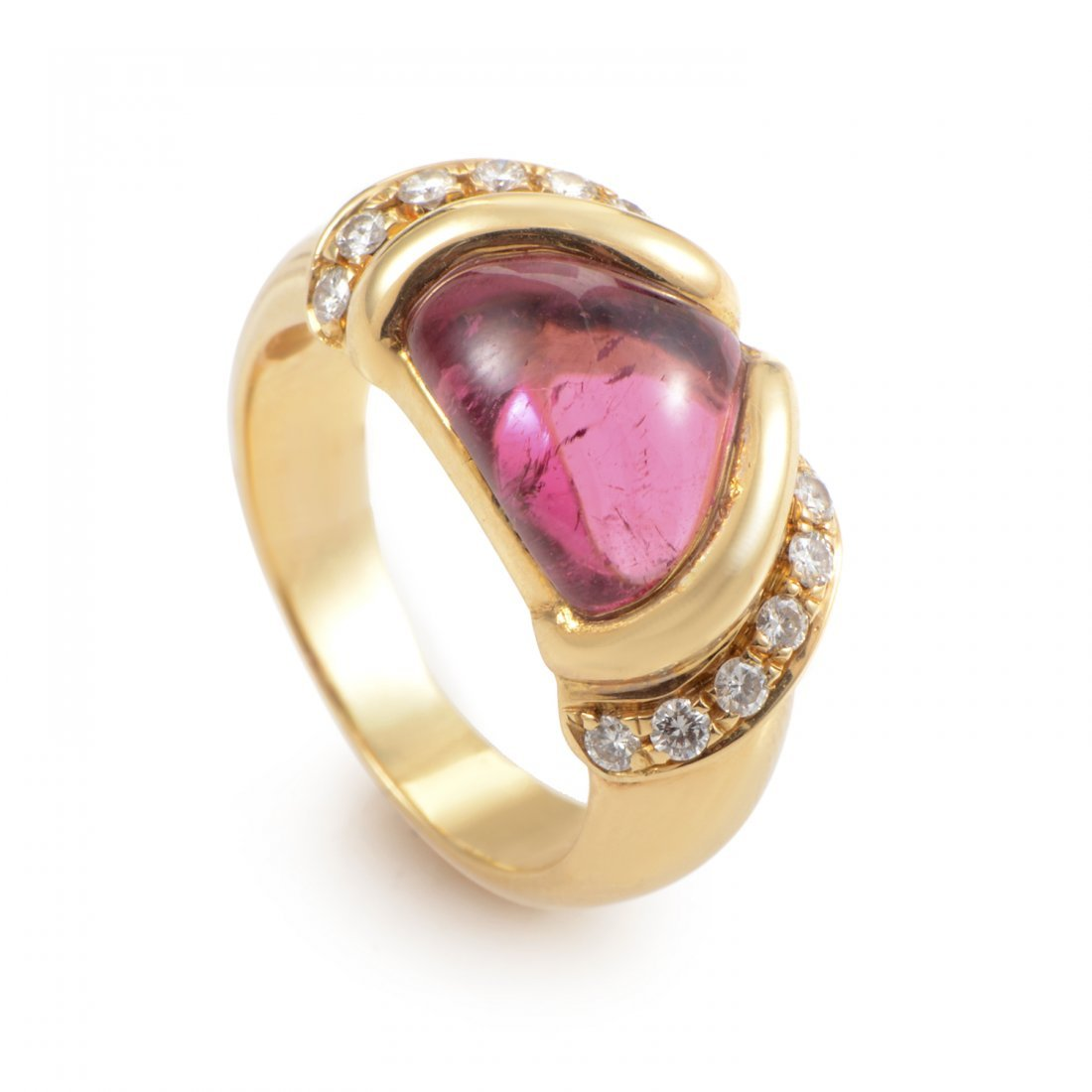 Bvlgari 18K Yellow Gold Pink Tourmaline and Diamond