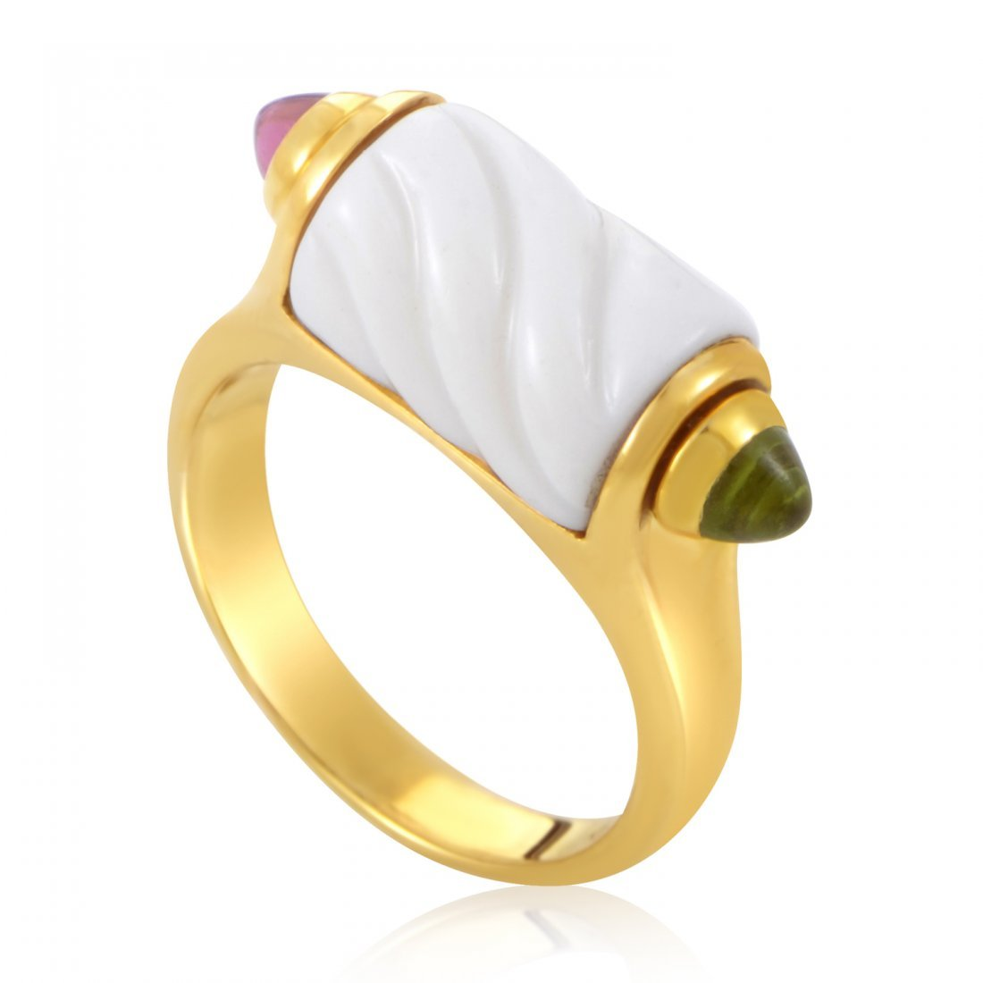 Bvlgari 18K Yellow Gold Porcelain Gemstone Ring