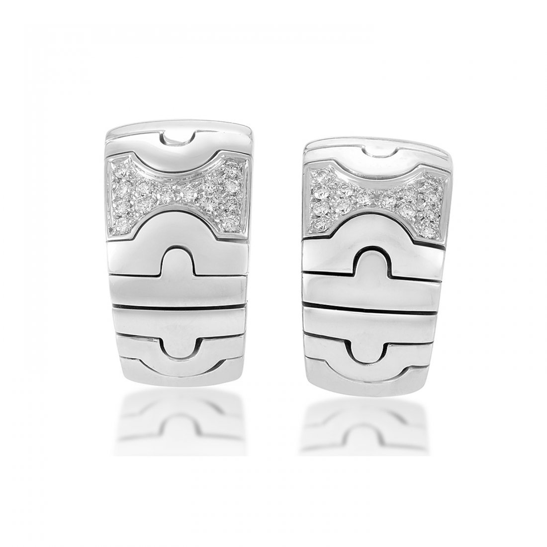Bvlgari Parentesi 18K White Gold Diamond Huggie