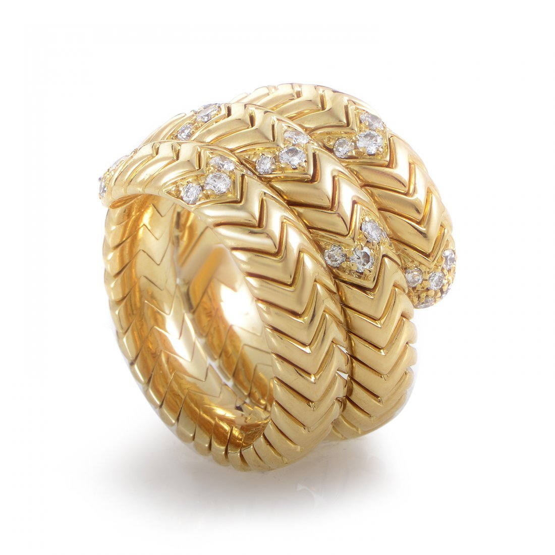 Bvlgari Spiga 18K Yellow Gold Diamond Band Ring