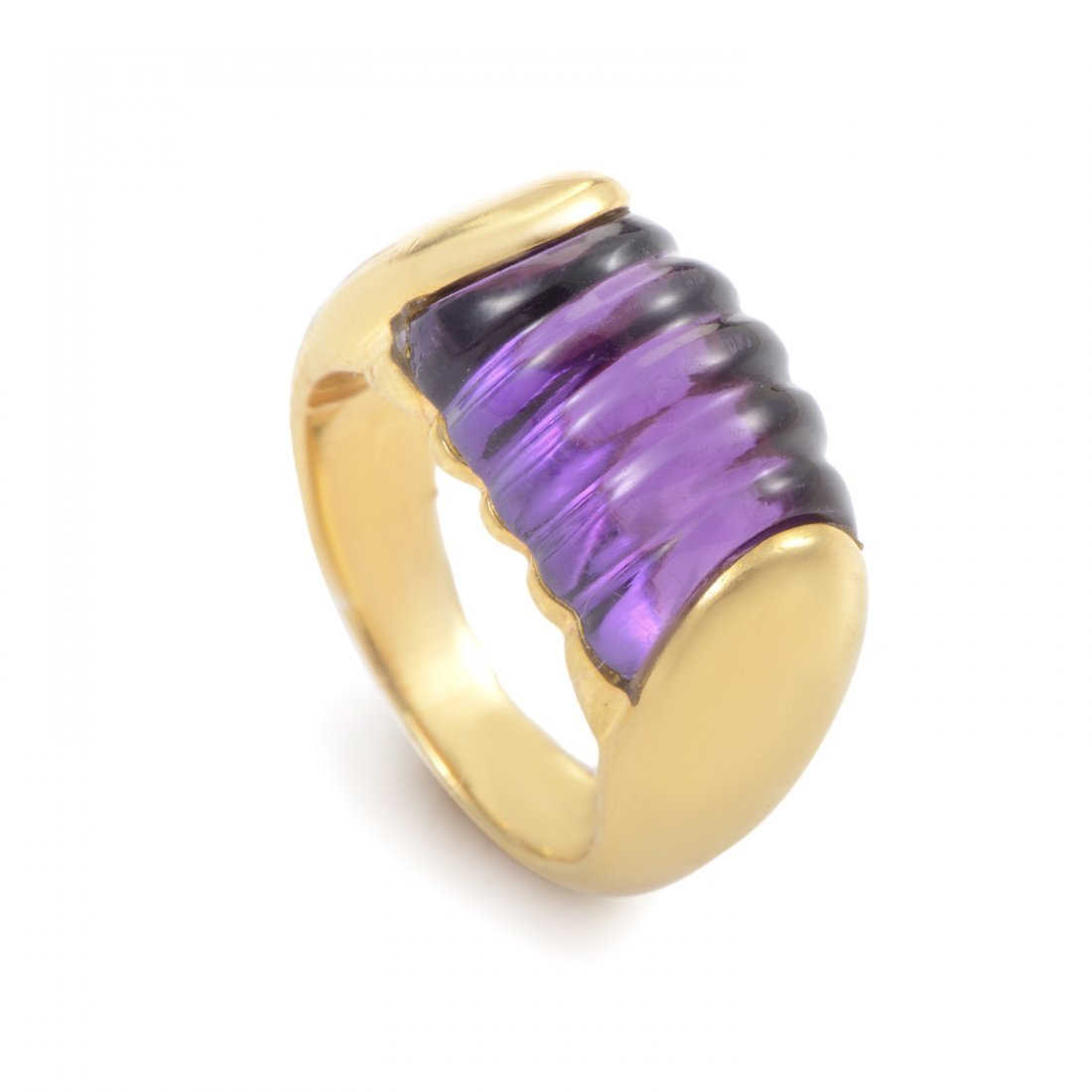 Bvlgari Tronchetto 18K Yellow Gold Amethyst Ring