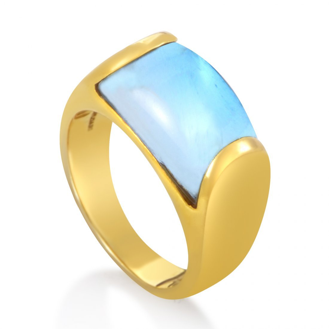 Bvlgari Tronchetto 18K Yellow Gold Blue Topaz Ring
