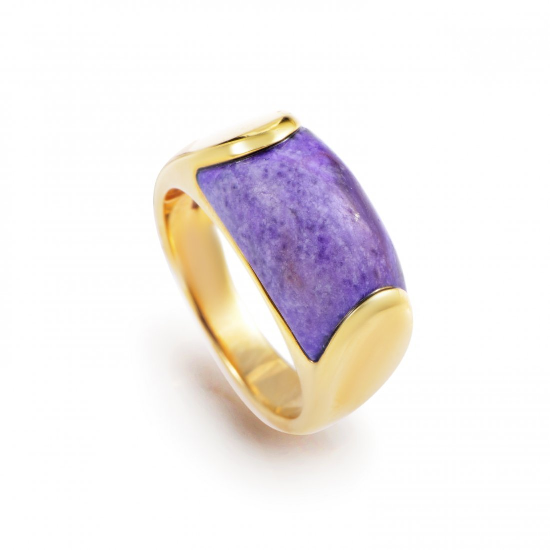 Bvlgari Tronchetto 18K Yellow Gold Purple Agate Ring