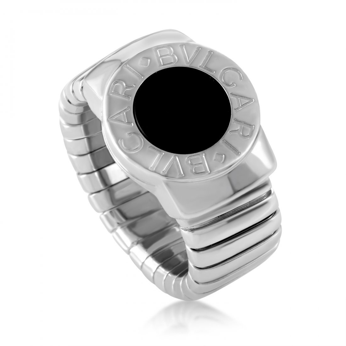 Bvlgari Tubogas 18K White Gold Onyx Seal Ring