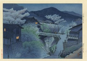 Shinsui Ito - Evening Snowscape At Komoeo - 1948