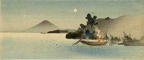 Gesso Yoshimoto - Fisherman And Mt. Fuji Under A Full