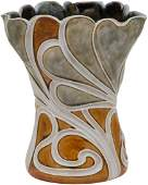 Royal Doulton Lambeth Art Nouveau Swirls Stoneware Vase