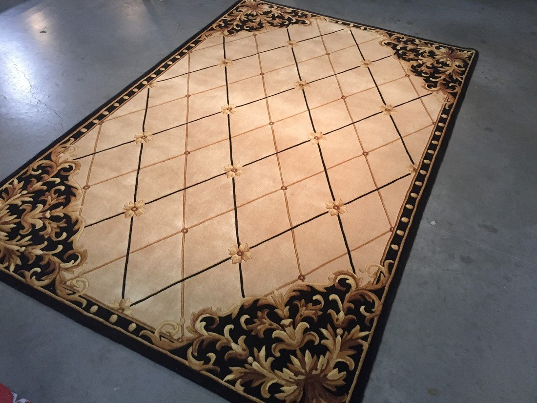 6x8 FRENCH DESIGN HAND MADE & HAND CARVED  WOOL RUG