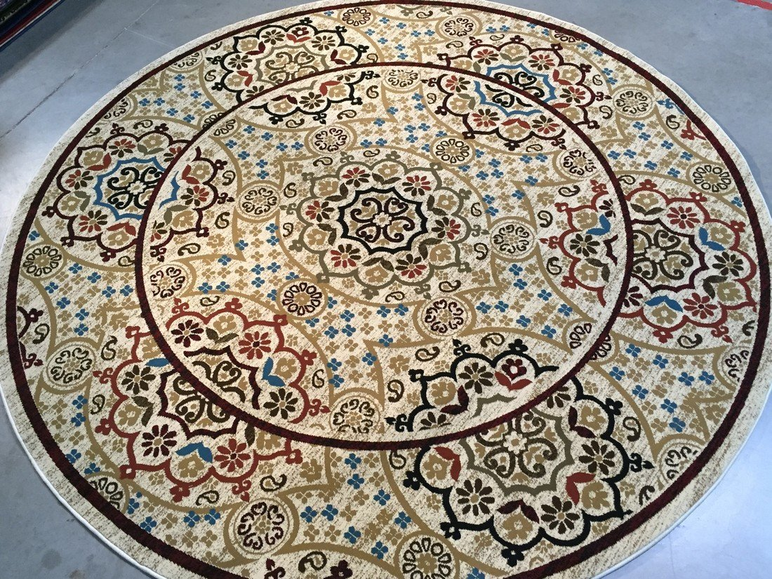 8 FT ROUND MODERN & COLORFUL DESIGN AREA RUG