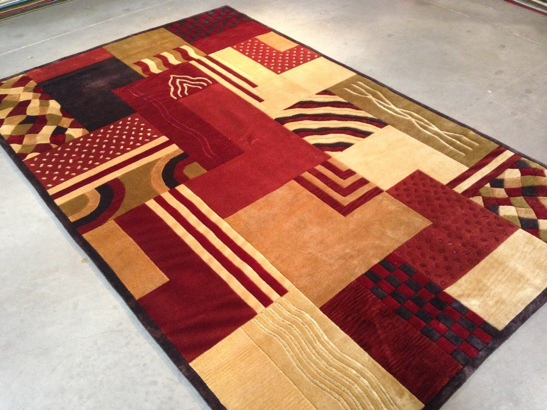 6x9 MAGNIFICENT MODERN HAND KNOTTED CARVED WOOL RUG