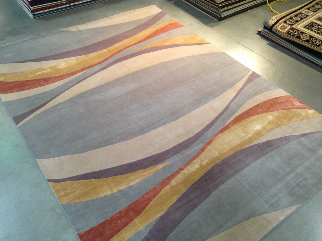 6x9 MAGNIFICENT MODERN HAND KNOTTED SILK & WOOL RUG