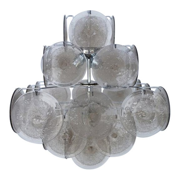Vistosi Murano Disk Chandelier 36 vintage Gray/Smoke