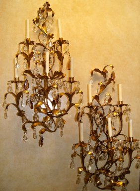 Pair Of Large Gilt Metal Sconce