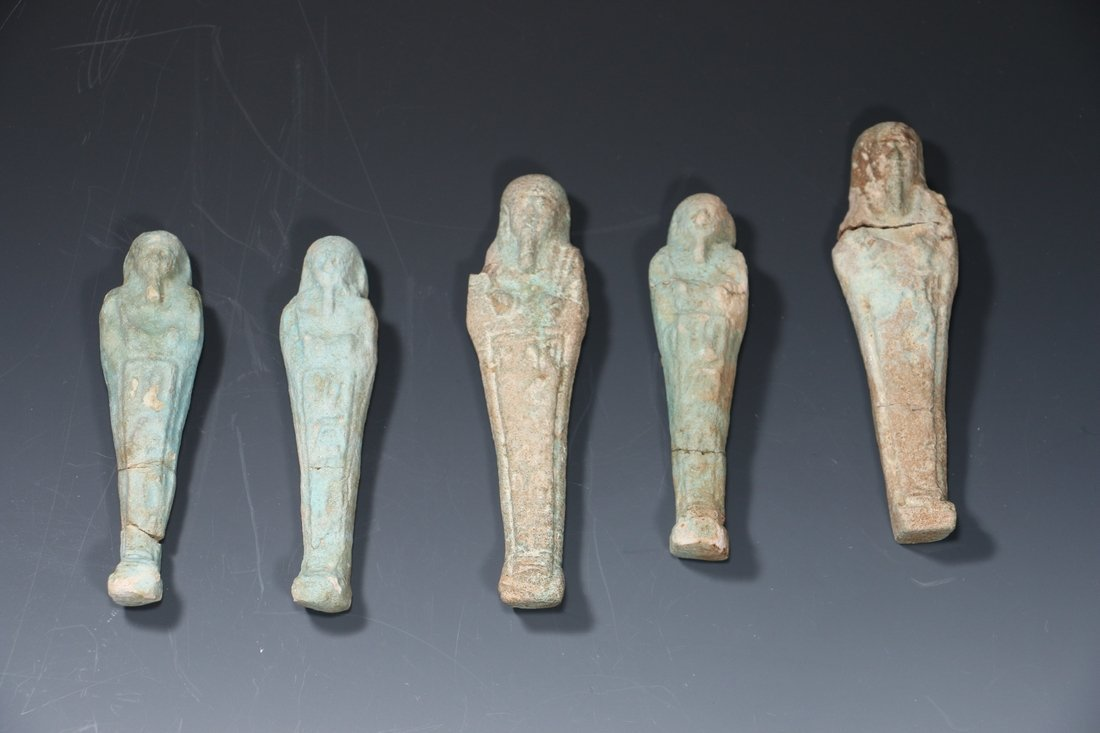 Five Egyptian Faience Ushabits Late Dynasty circa 350