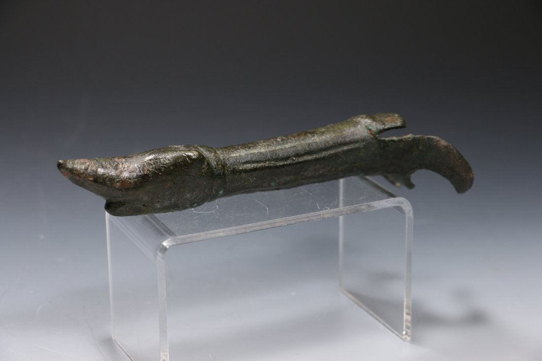 Roman Bronze Patera Handle Circa 1st Century A.D.