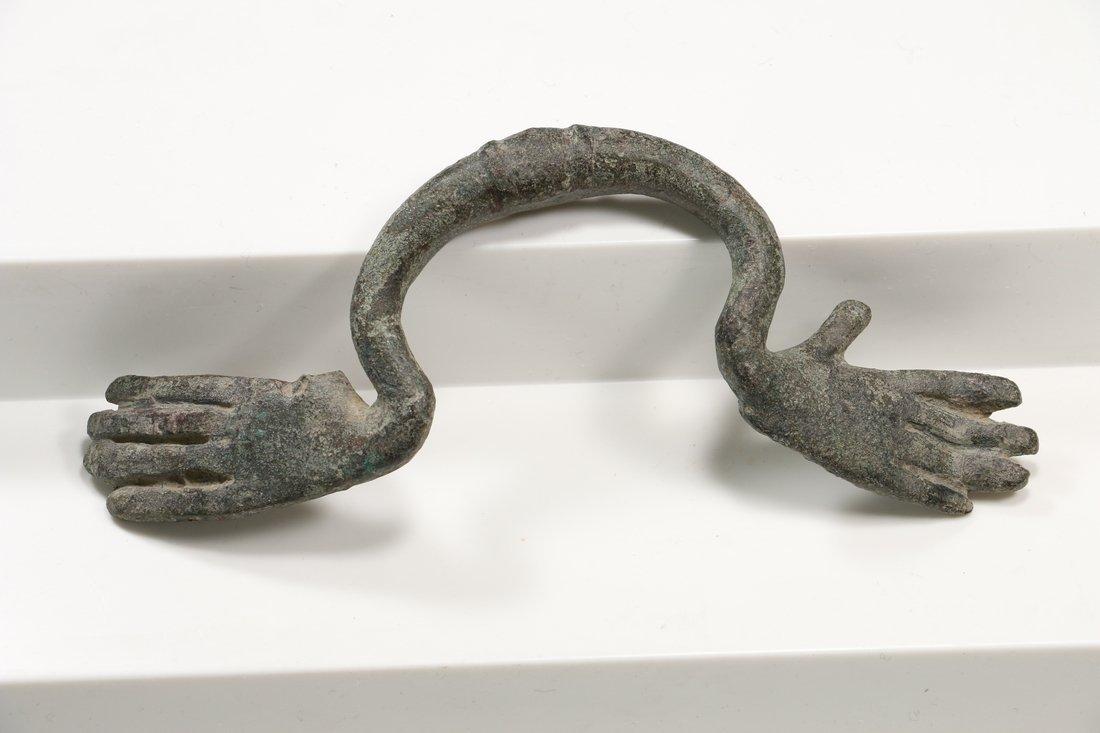 Roman Bronze Hydria Handle circa 100 B.C. - 100 A.D.
