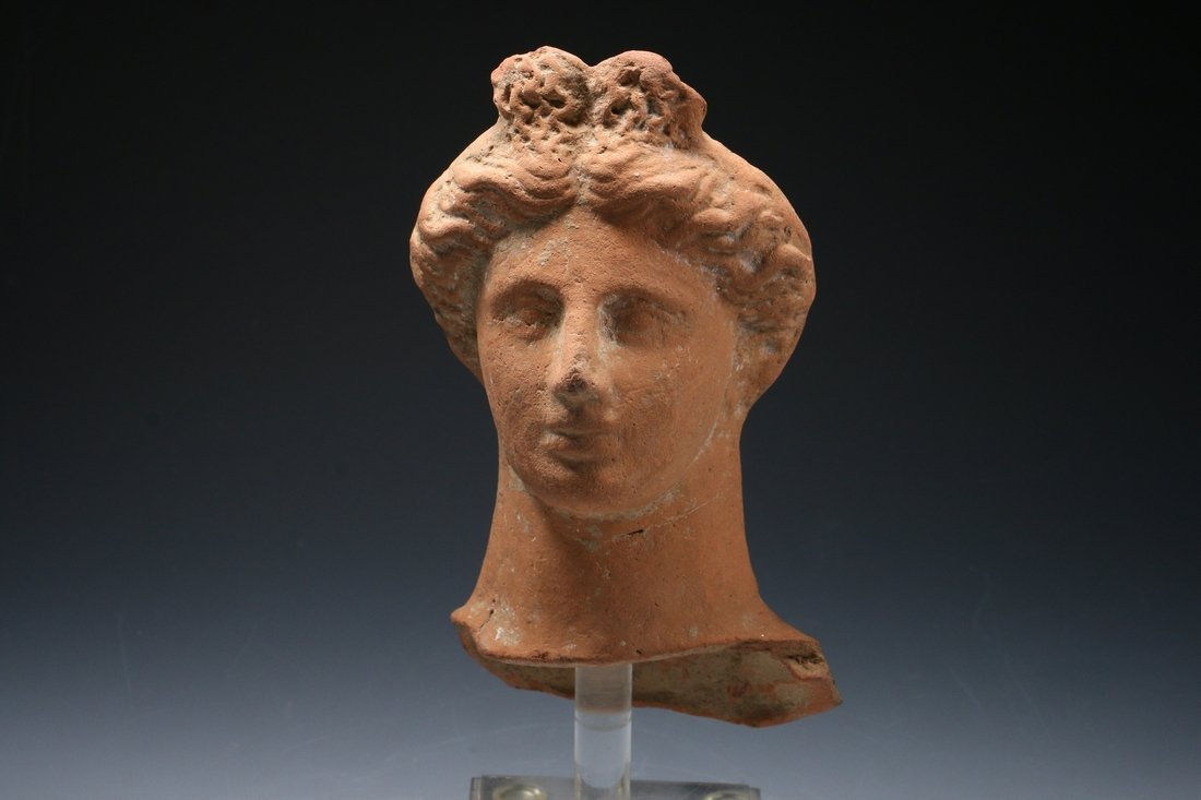 Roman Terracotta Female Head ca. 100 B.C. - 200 A.D.