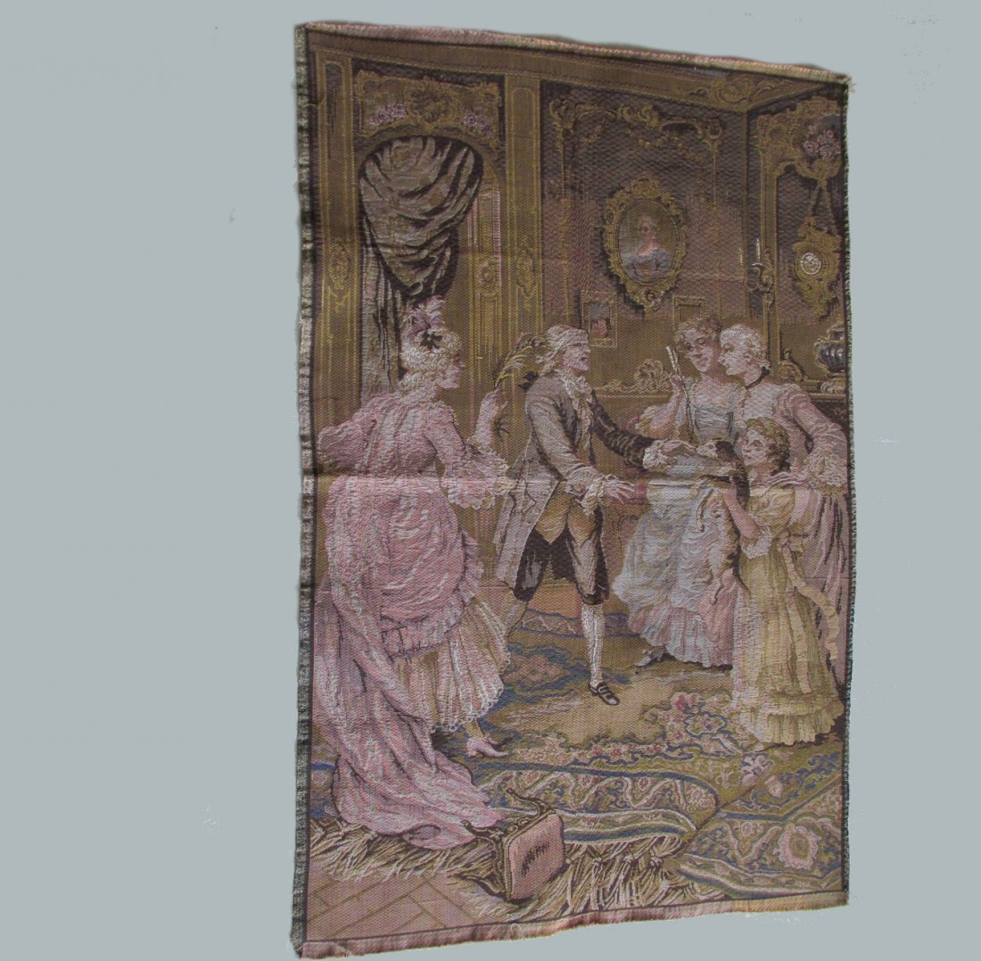 Antique French Hide & Seek Parlor Game Tapestry