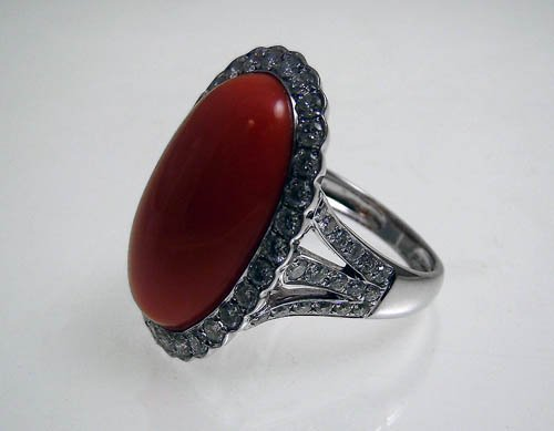 18KWG CORAL AND DIAMOND RING