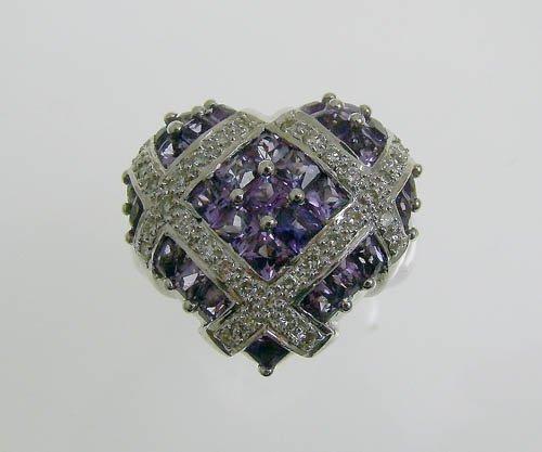 18KWG AMETHYST AND DIAMOND HEART RING