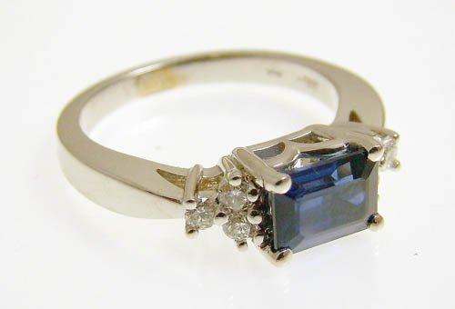 18KWG SAPPHIRE AND DIAMOND RING