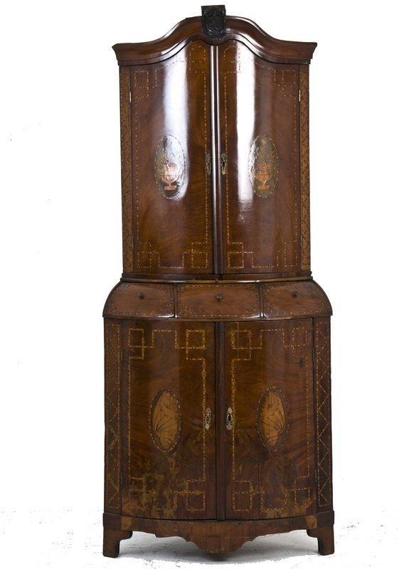 Superb Antique 18th C Dutch Mahogany Inlaid Corner