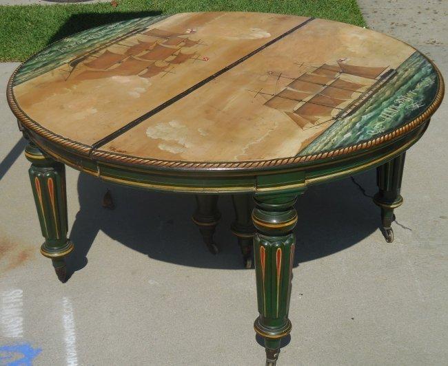Antique Regency Mahogany Table w Elaborate Ship