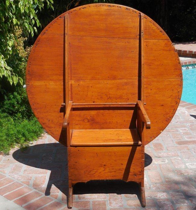 Antique 18th C American Rustic Metamorphic Chair Table