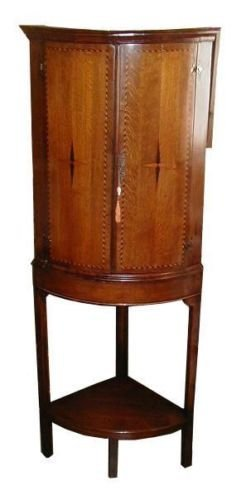 Antique Georgian Inlaid Corner Cabinet w Marquetry Star