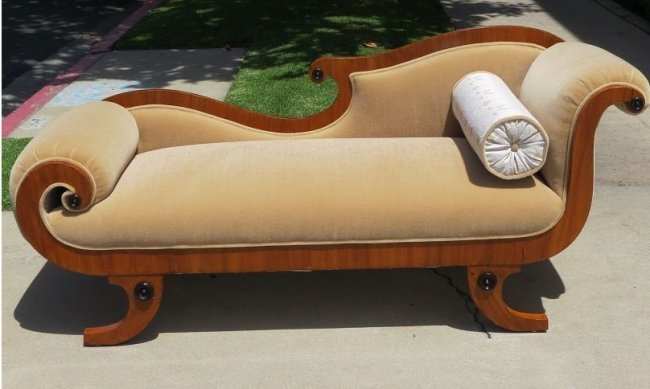 Antique Early 19th C Biedermeier Chaise Lounge w Tan