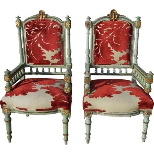Pair of Antique Early 19th C Louis XVI Painted Salon