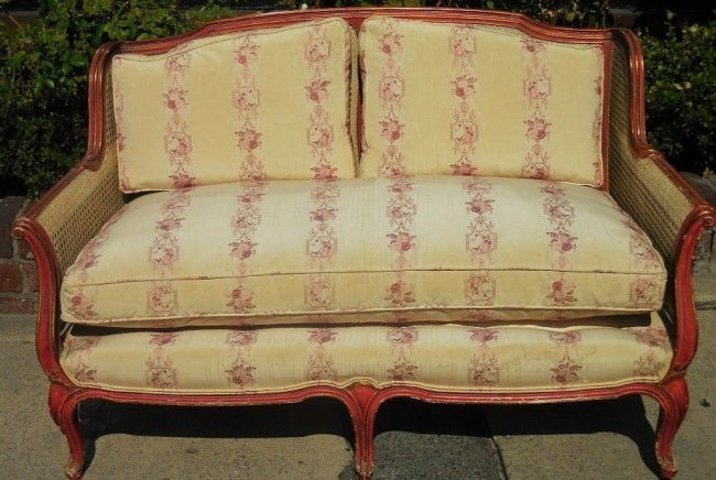 Superb Antique French Red Painted Cane Back Settee w