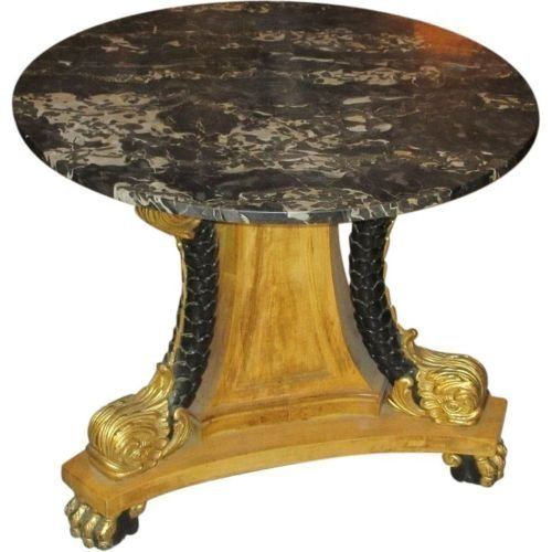 Superb Regency Style Table w Black Marble Top Dolphin