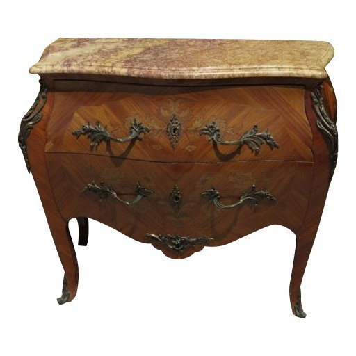 Antique Italian Inlaid Bombay Commode w Marble Top