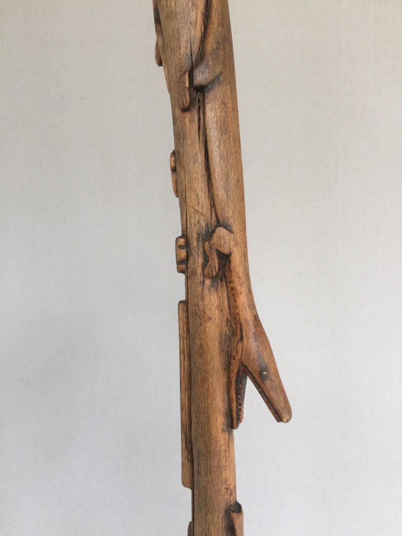 Folk Art Cane with Carved Animals