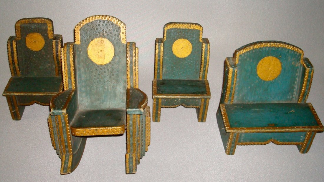 Four Miniature Paint Decorated Tramp Art Chairs