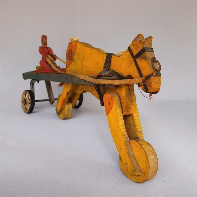 Folk Art Pull Toy Horse with Sulky and Driver