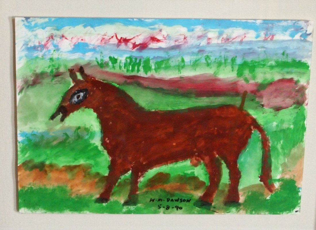Painting of a Grazing Horse by Self-Taught Artist